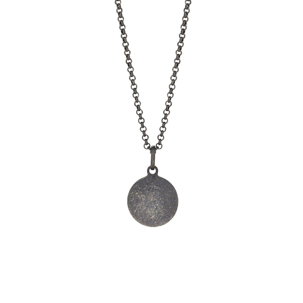 SON of noa halskæde i sort sølv med rundt vedhæng