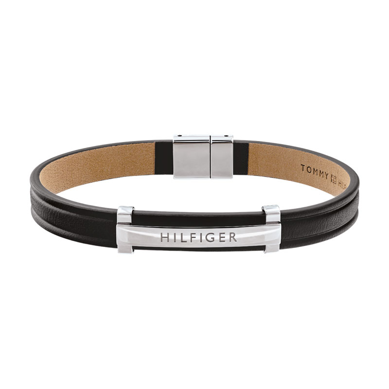 Image of   Tommy Hilfiger sort læderarmbånd med stål led