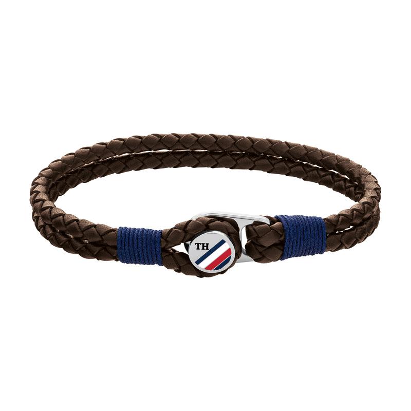 Image of   Tommy Hilfiger brun flettet læderarmbånd i med stål logo lås