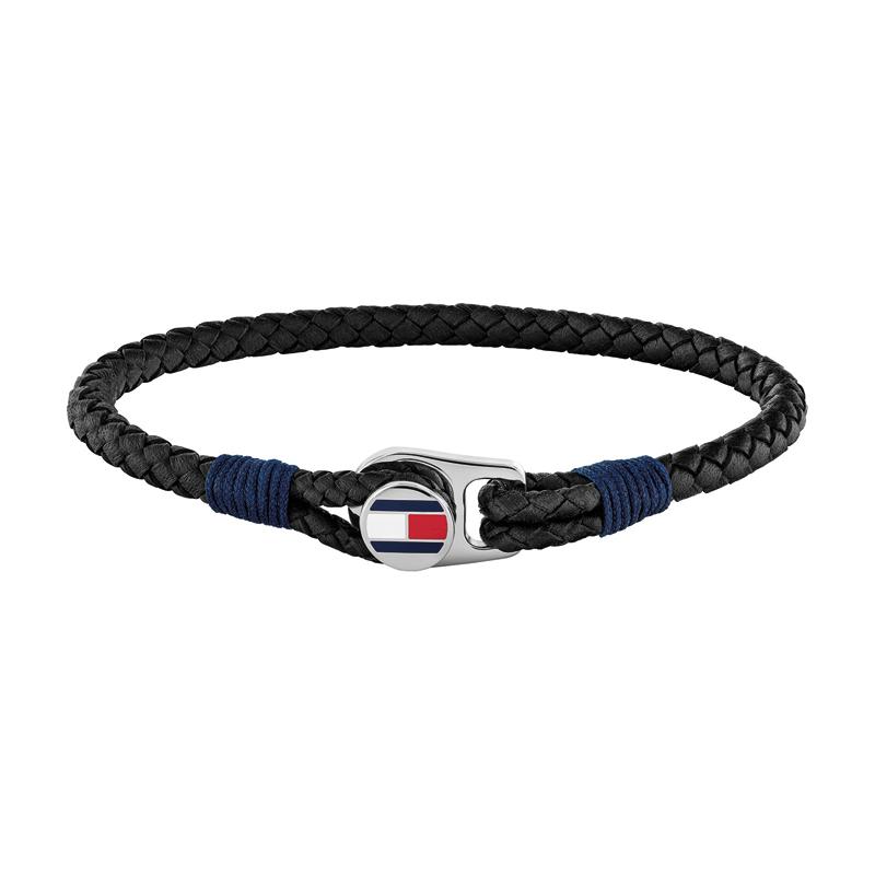 Image of   Tommy Hilfiger flettet læderarmbånd i mørkeblå med stål logo lås