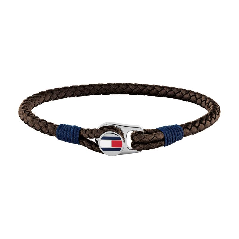 Image of   Tommy Hilfiger brun flettet læderarmbånd med stål logo lås