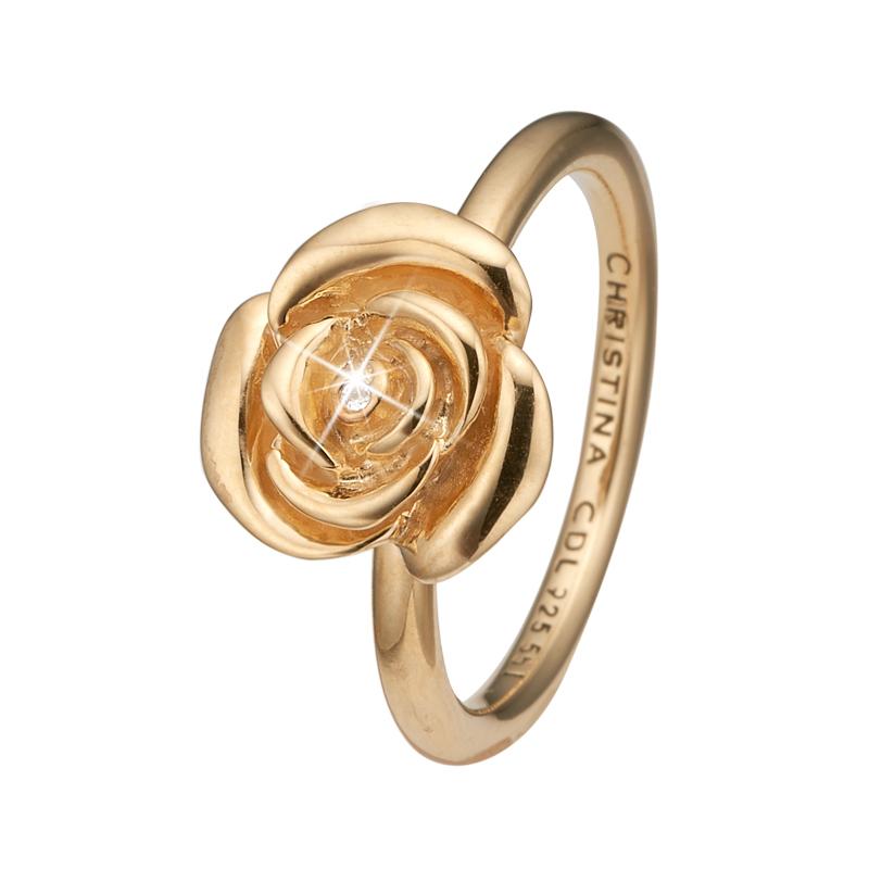 Image of   Christina Jewelry Topaz Rose ring i forgyldt med topas