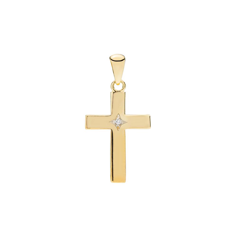 LUND Copenhagen Stavkors Vedhæng i 8kt guld med diamant, 16x11mm