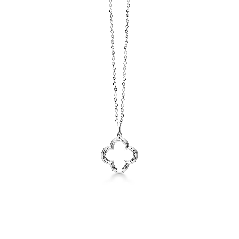 Mads Z Poppy sølv halskæde med blomster vedhæng, 45 cm