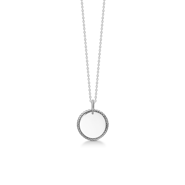 Mads Z Ropey sølv halskæde med rund plade vedhæng