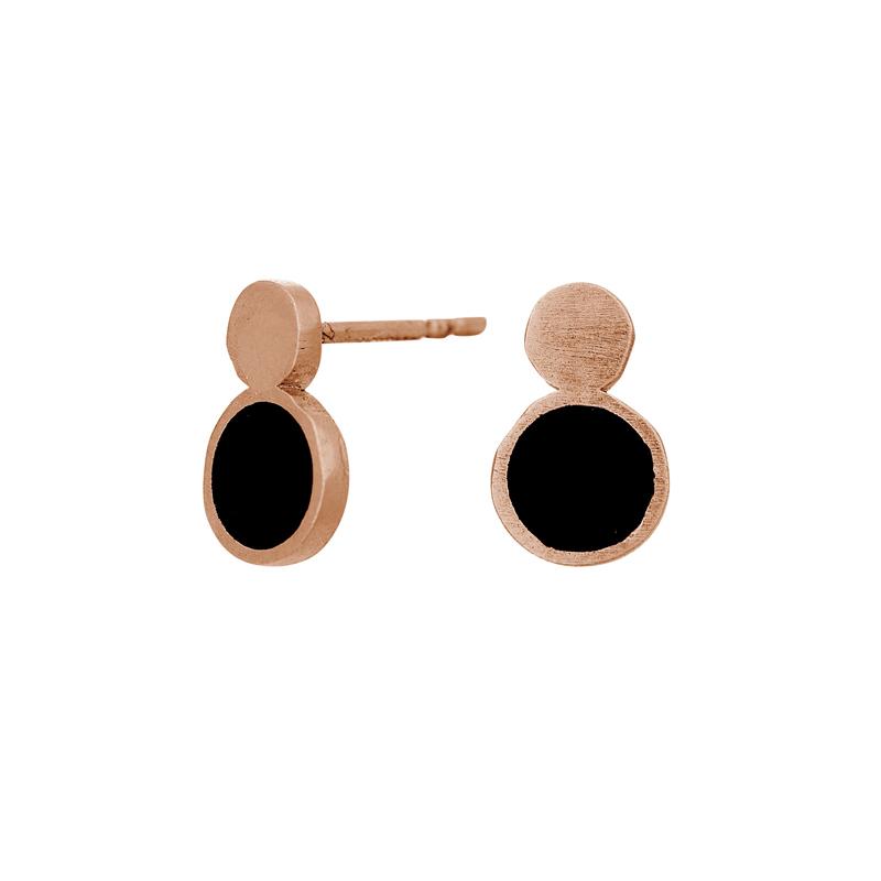 Nordahl Jewellery BLACK ørestikker i rosaforgyldt med to cirkler i sølv og sort thumbnail