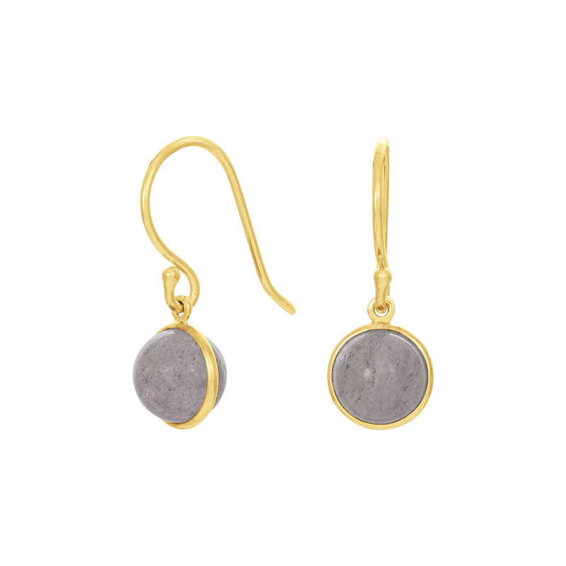 Nordahl Jewellery Sweets øreringe i forgyldt med grå månesten