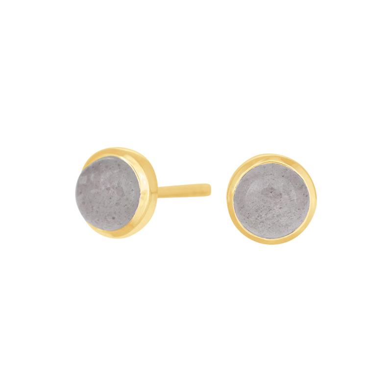 Nordahl Jewellery Sweets ørestikker i forgyldt med grå månesten