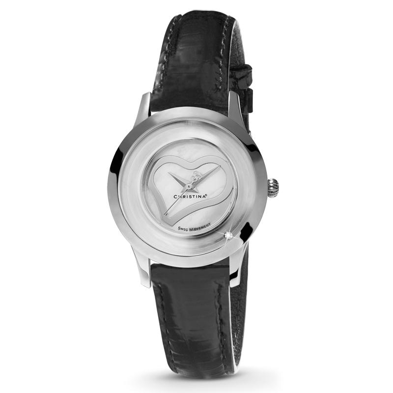 Image of   Christina Design Collect Love dameur i stål m. perlemor skive med hjerte og sort læderrem