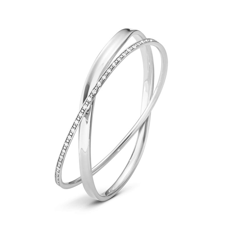 Georg Jensen Marcia dobbelt armring i sølv med diamanter