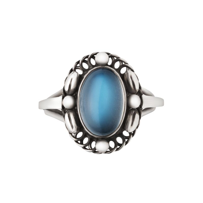 Georg Jensen Moonlight Blossom ring, sølv med månesten