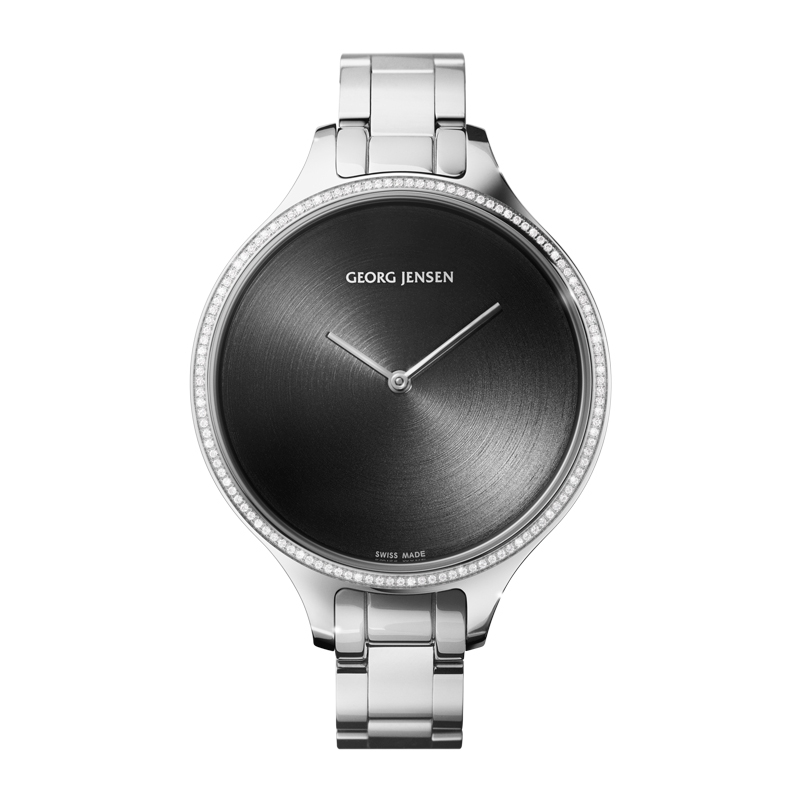 Image of   Georg Jensen Concave dameur med lænke, 120 diamanter, 39 mm