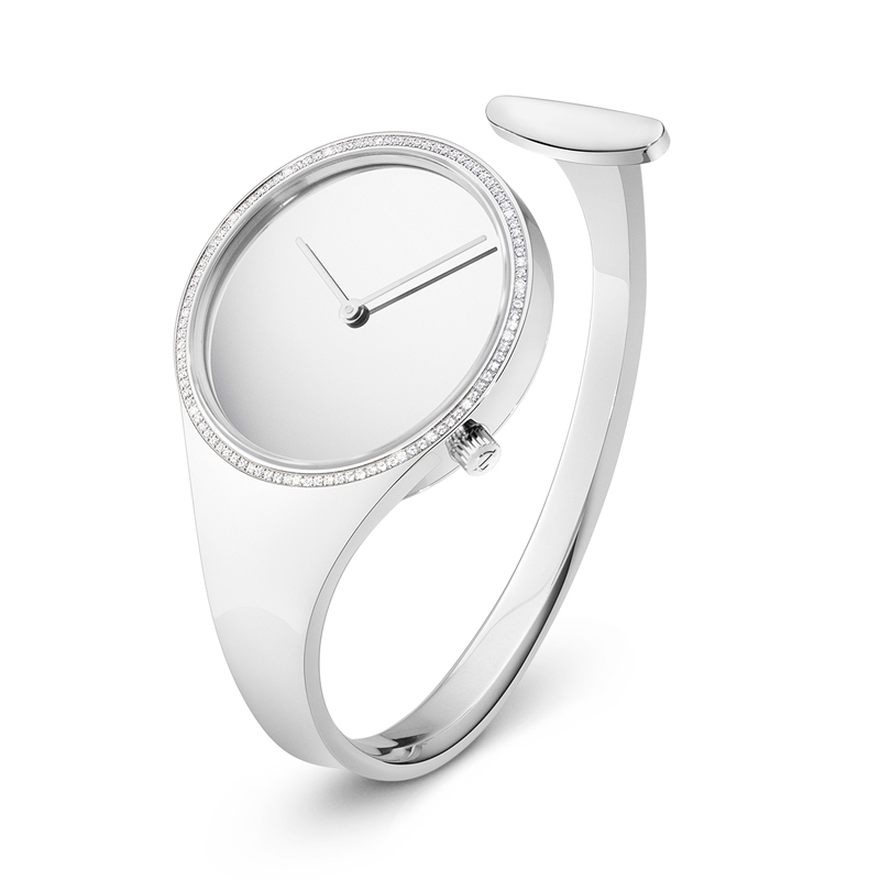Georg Jensen Vivianna Bangle dameur i stål med diamanter, 34 mm