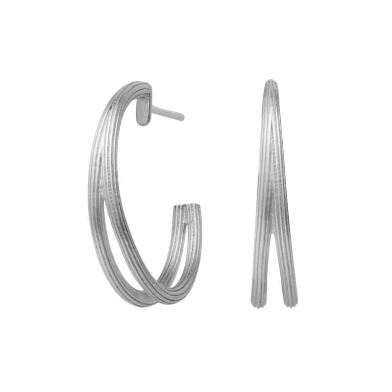Image of   ByBiehl Isla Duo Creoler i sølv, Ø25 mm