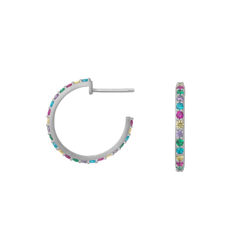 Image of   Bybiehl Rainbow Sparkle øreringe i sølv med farvede sten