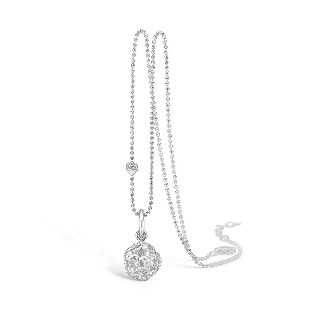 Image of   Blossom 14 kt hvidguld blonde kugle vedhæng med 6 stk brill i alt 0,06 ct, sølv halskæde, 45 cm
