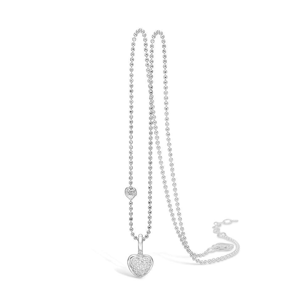 Image of   Blossom 14 kt hvidguld hjerte vedhæng med 21 stk. brill. på i alt 0,147ct, sølv halskæde 45 cm