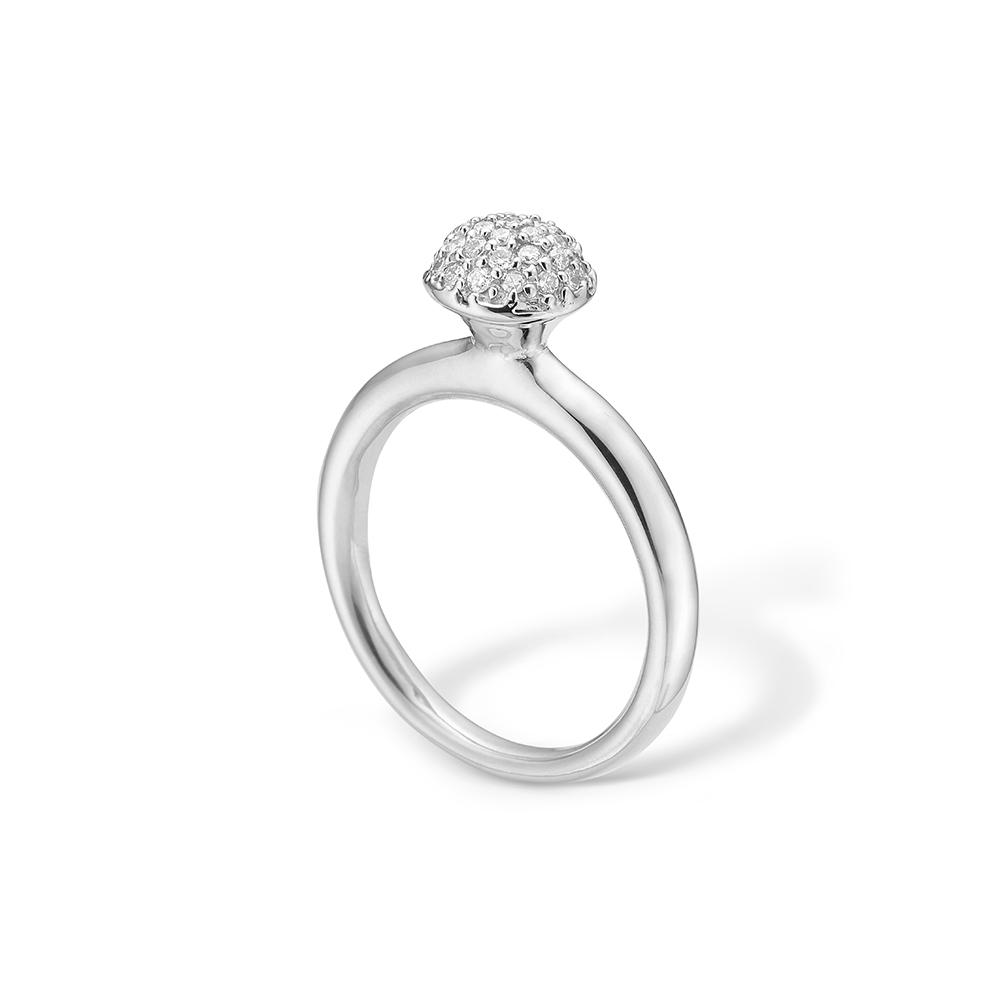 Image of   Blossom ring i 14 kt hvidguld med 33 diamanter