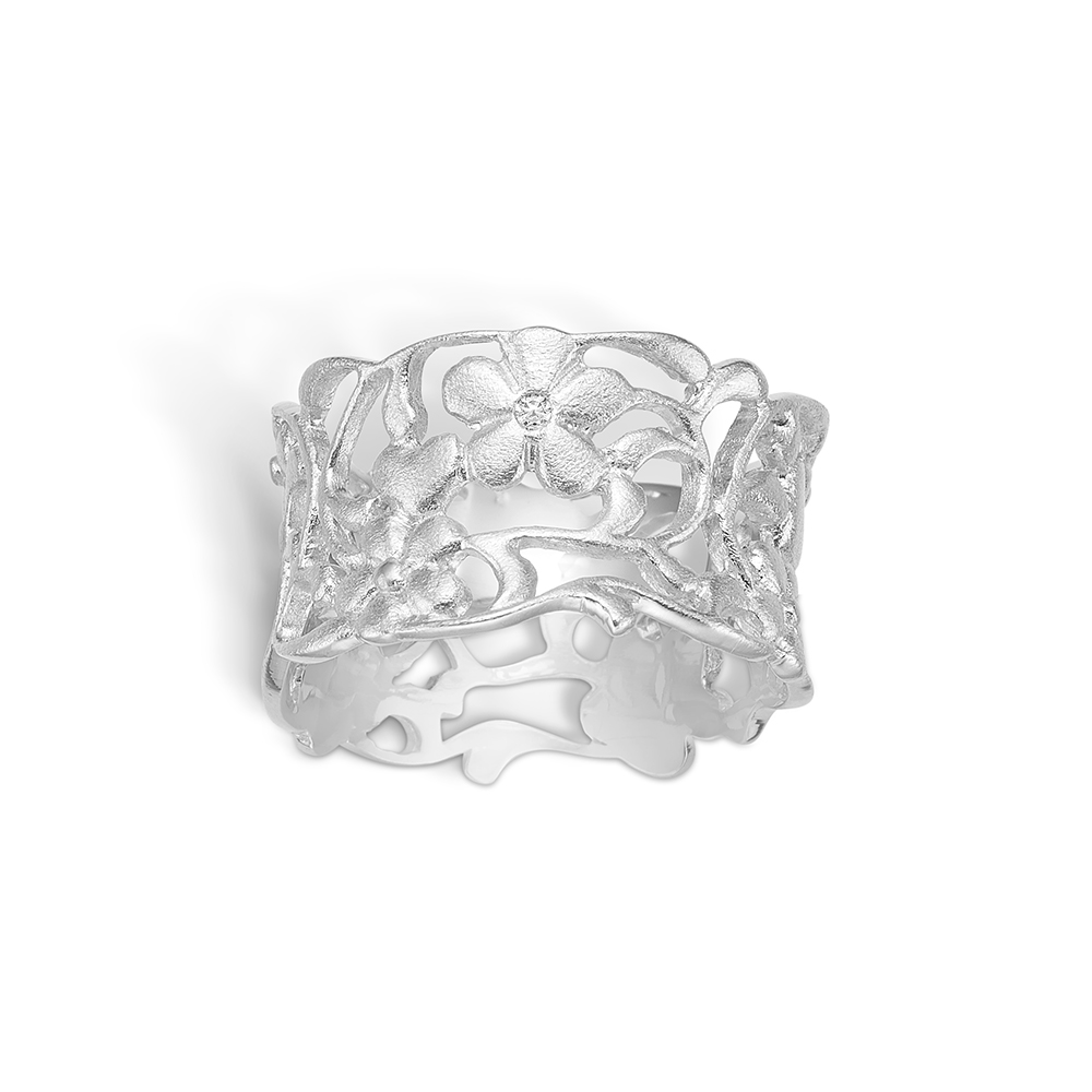 Blossom ring i 14 kt mat hvidguld med diamant