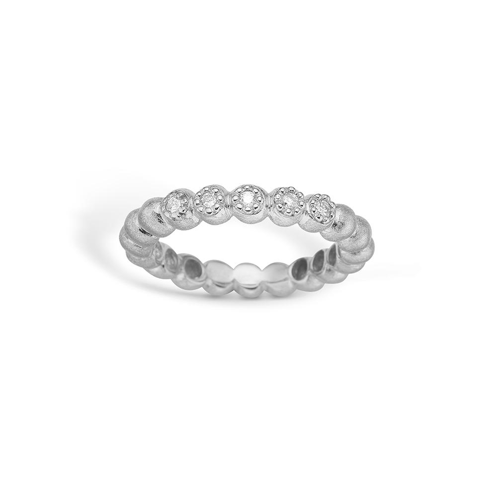 Blossom ring i 14 kt hvidguld med 5 diamanter