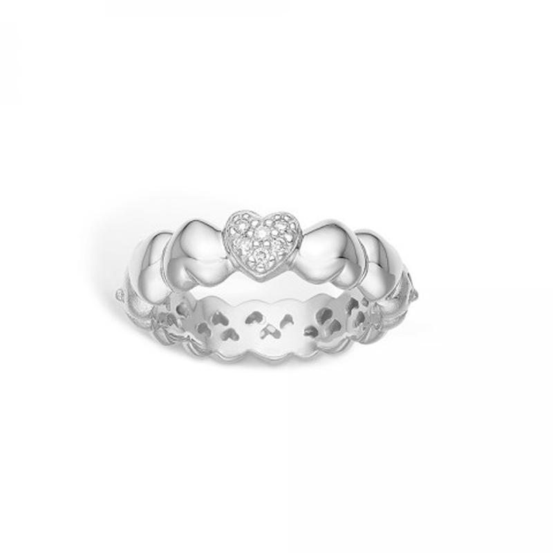 Image of   Blossom 14 kt. hvidguld ring med hjerter dia. 6 stk diamanter, i alt 0,06 ct