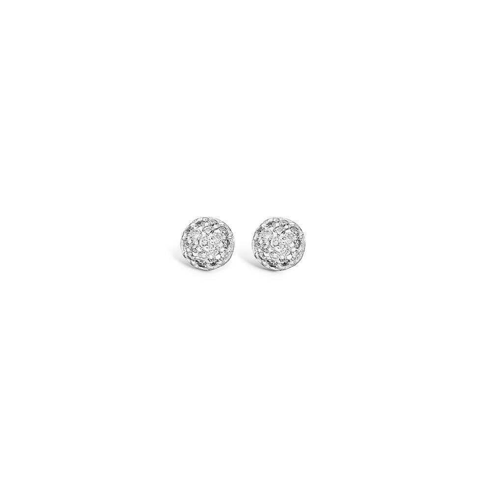 Blossom 14 kt. hvidguld kugle ørestikker paveret med diamanter 34 stk i alt 0,24 ct.