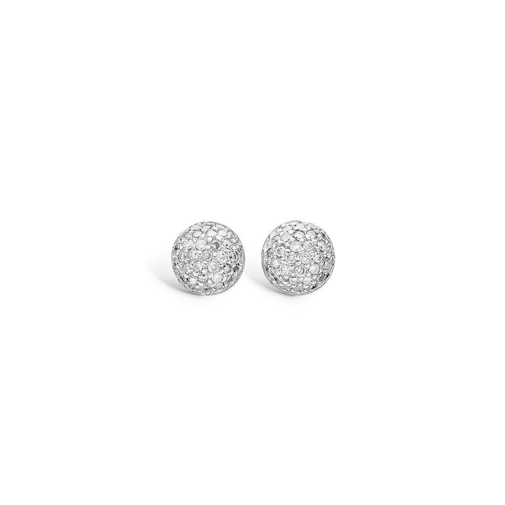 Blossom 14 kt. hvidguld kugle ørestikker paveret med diamanter 66 stk i alt 0,46 ct.