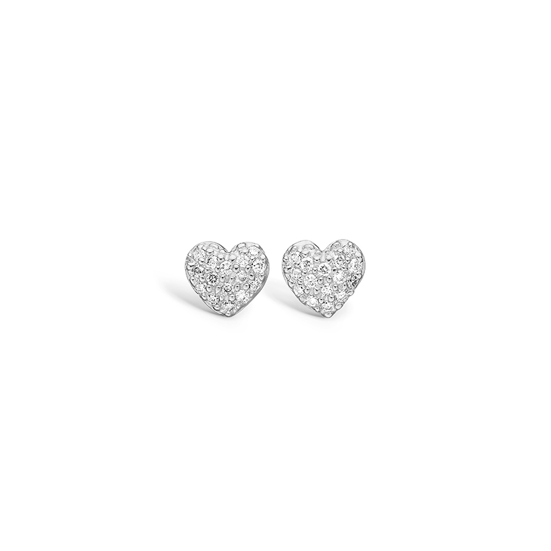 Blossom 14 kt. hvidguld hjerte ørestikker paveret med diamanter 30 stk i alt 0,15 ct.