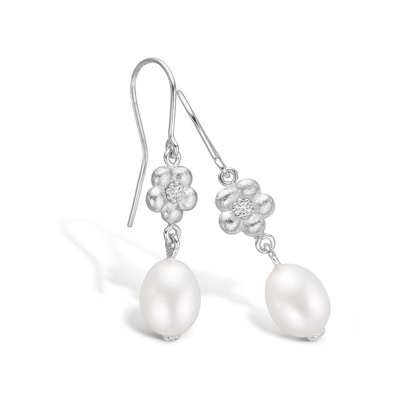 Blossom ørehængere i hvidguld med perler og diamanter