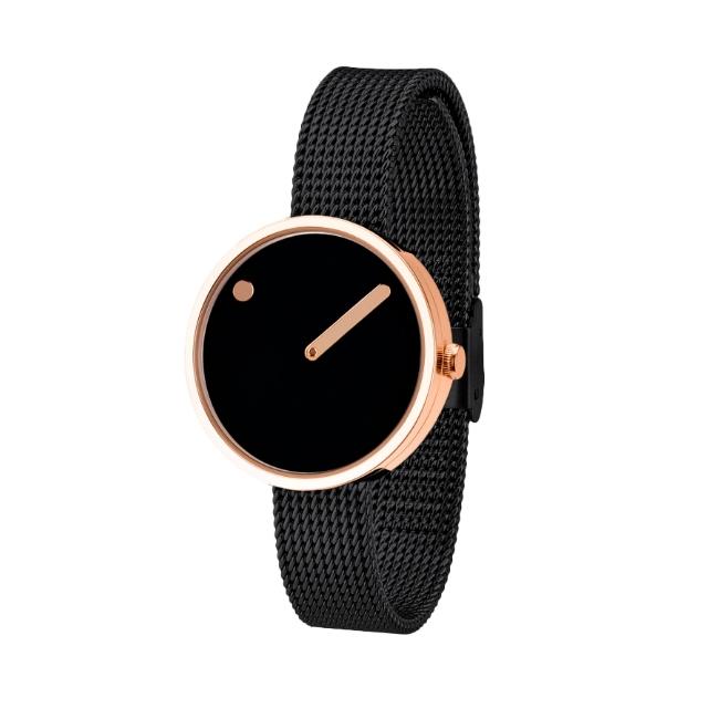 PICTO armbåndsur Ø30 i sort/rosa med sort meshlænke