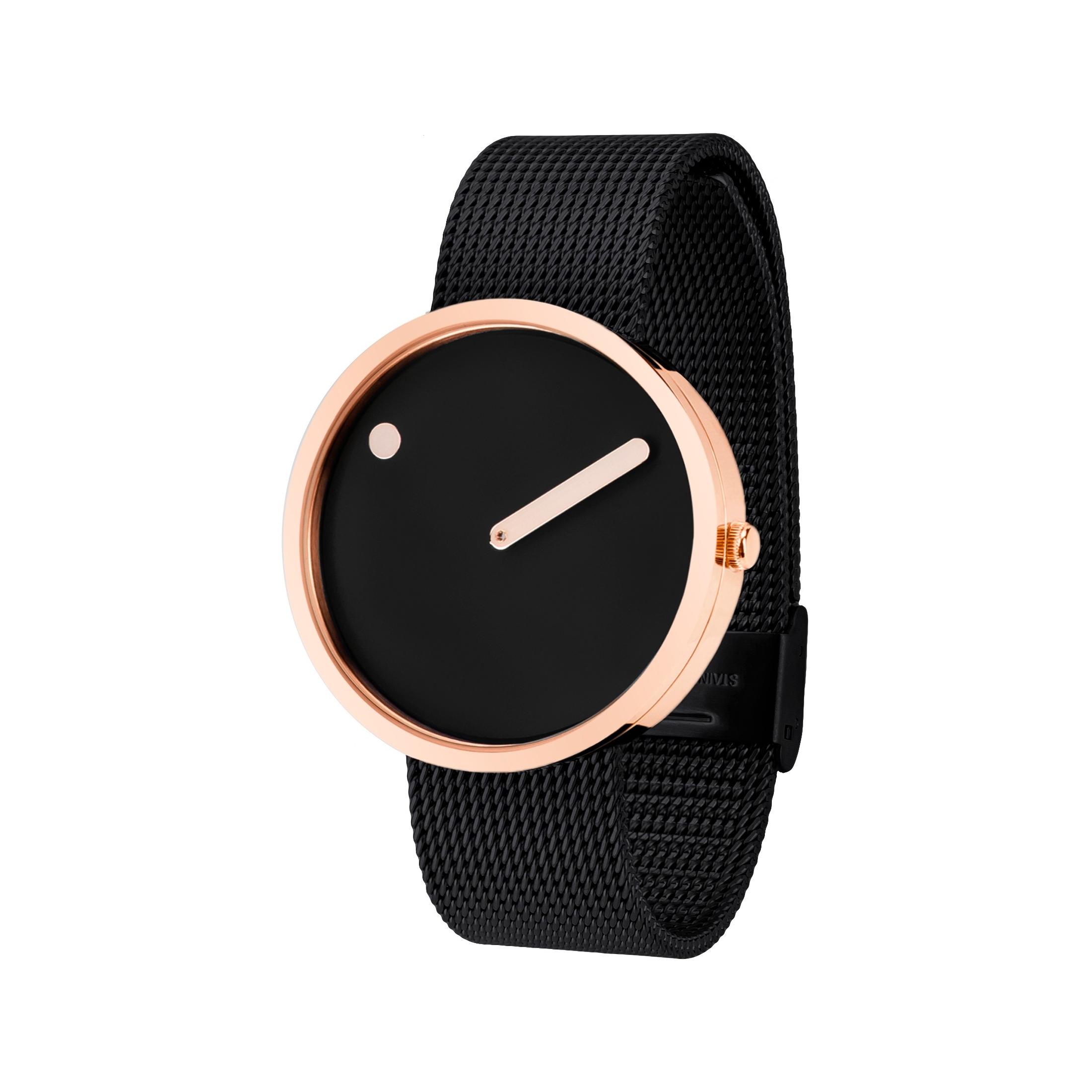 PICTO armbåndsur Ø40 i sort med sort meshlænke