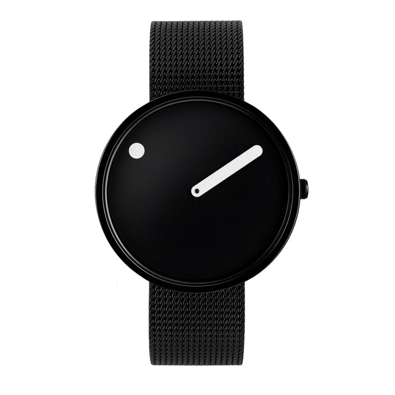 PICTO armbåndsur Ø40 i sort med meshlænke
