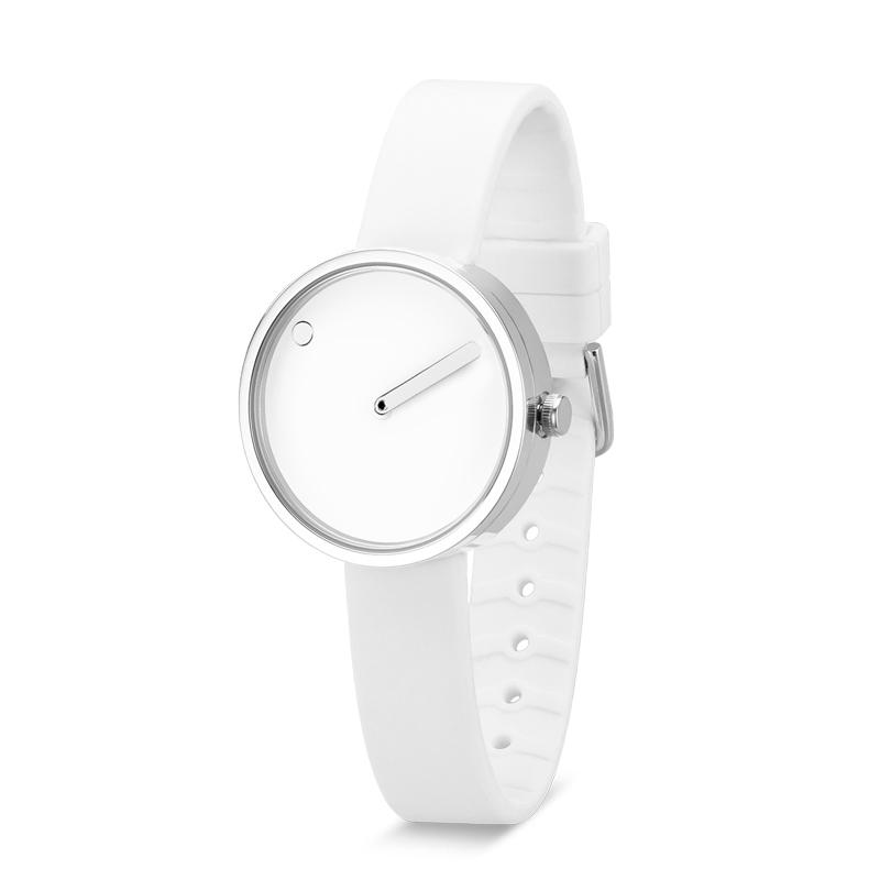 PICTO armbåndsur, Ø30 i hvid med hvid gummerem