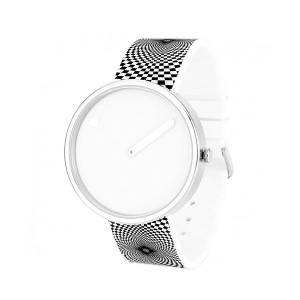 PICTO armbåndsur Ø40, hvid skive med grafisk gummirem