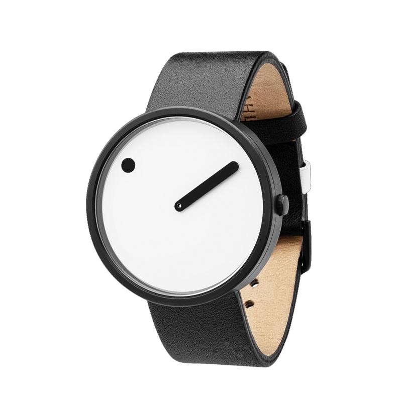 PICTO armbåndsur, 40 mm hvid med sort rem