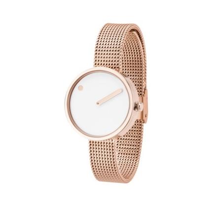 PICTO armbåndsur Ø30 i hvid med rosa meshlænke