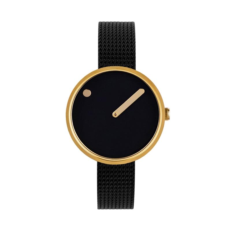 PICTO armbåndsur Ø30 i sort med PVD forgyldt kasse og sort meshlænke