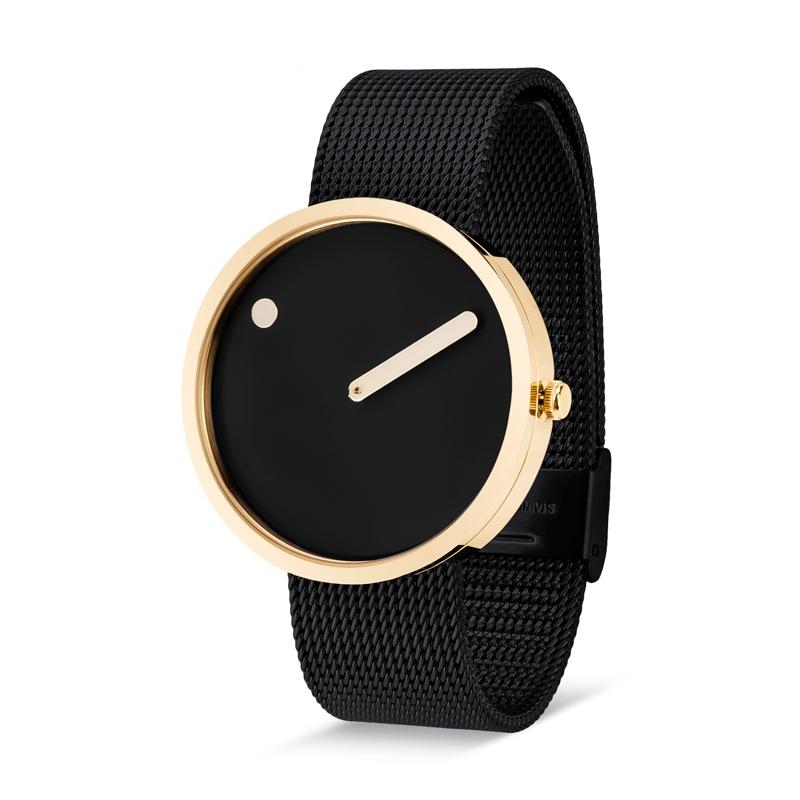 PICTO armbåndsur Ø40 med gylden urkasse og sort meshlænke