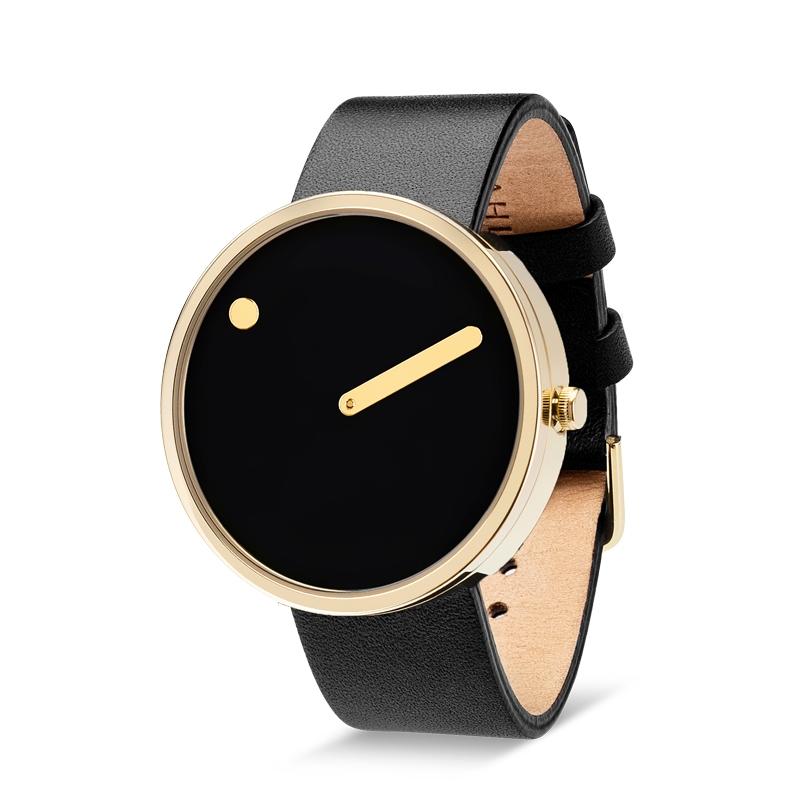 PICTO armbåndsur Ø40 i sort med gylden urkasse og læderrem