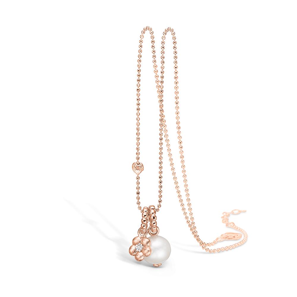 Blossom vedhæng i rosaguld med diamant og perle