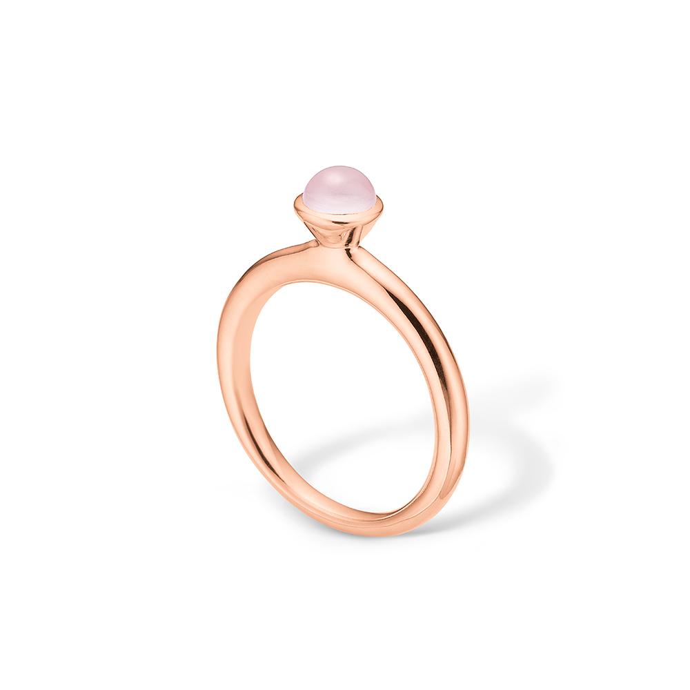 Image of   Blossom ring i 14 kt rosaguld med rosa agat