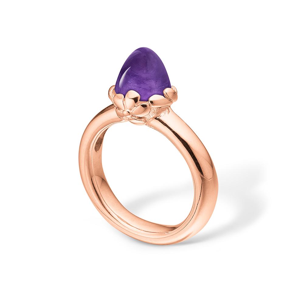 Image of   Blossom ring i 14 kt rosaguld med lille ametyst