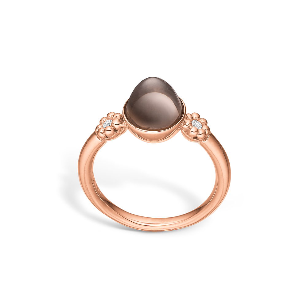 Image of   Blossom ring i 14 kt rosaguld med diamanter og røgkvarts
