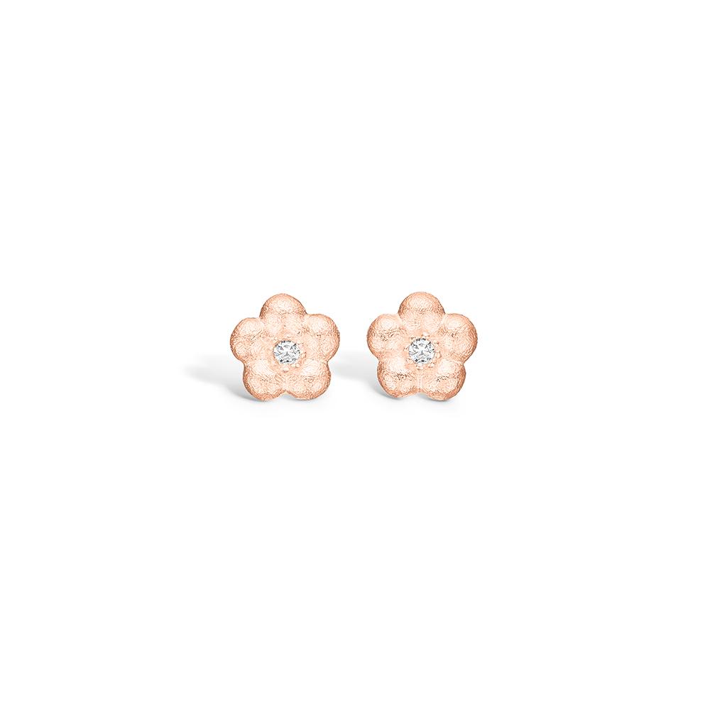 Blossom ørestikker i rosaguld med diamanter