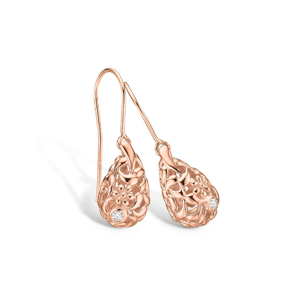 Blossom ørehængere i rosaguld med diamanter