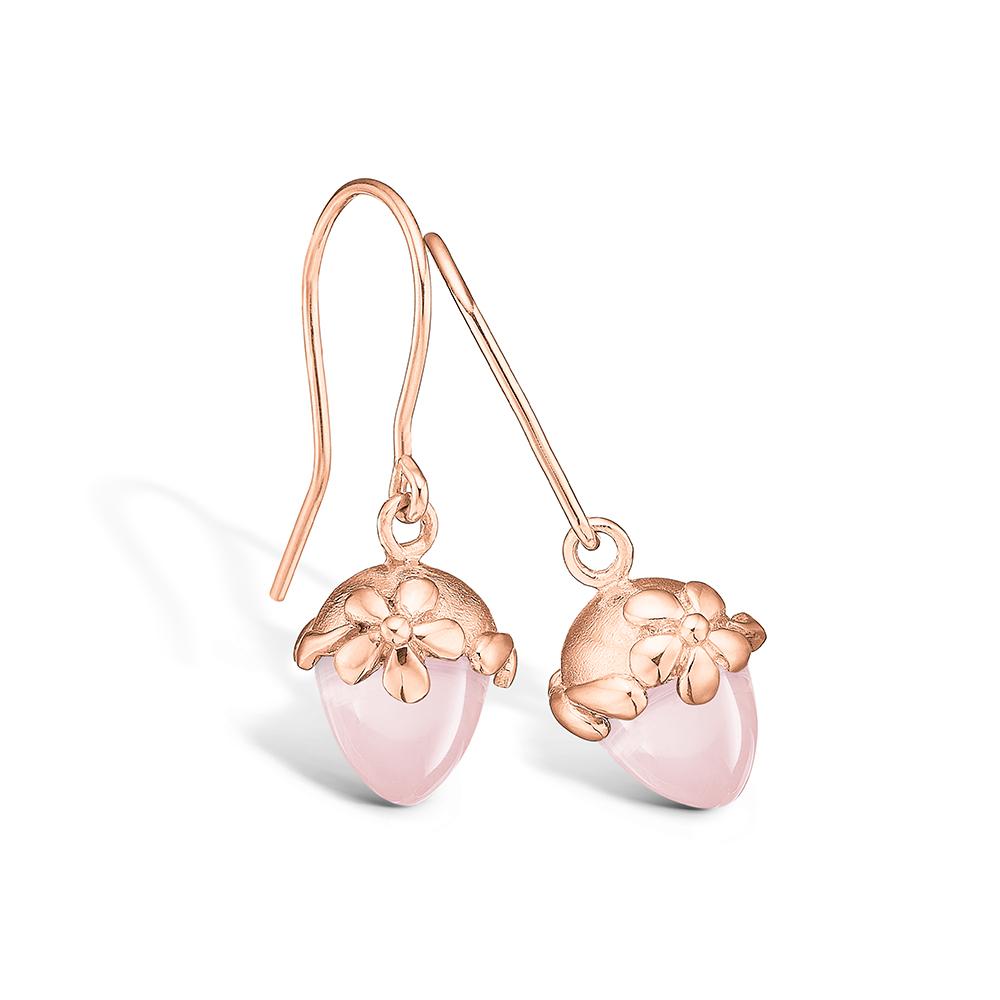 Blossom ørehængere i rosaguld med lille rosakvarts