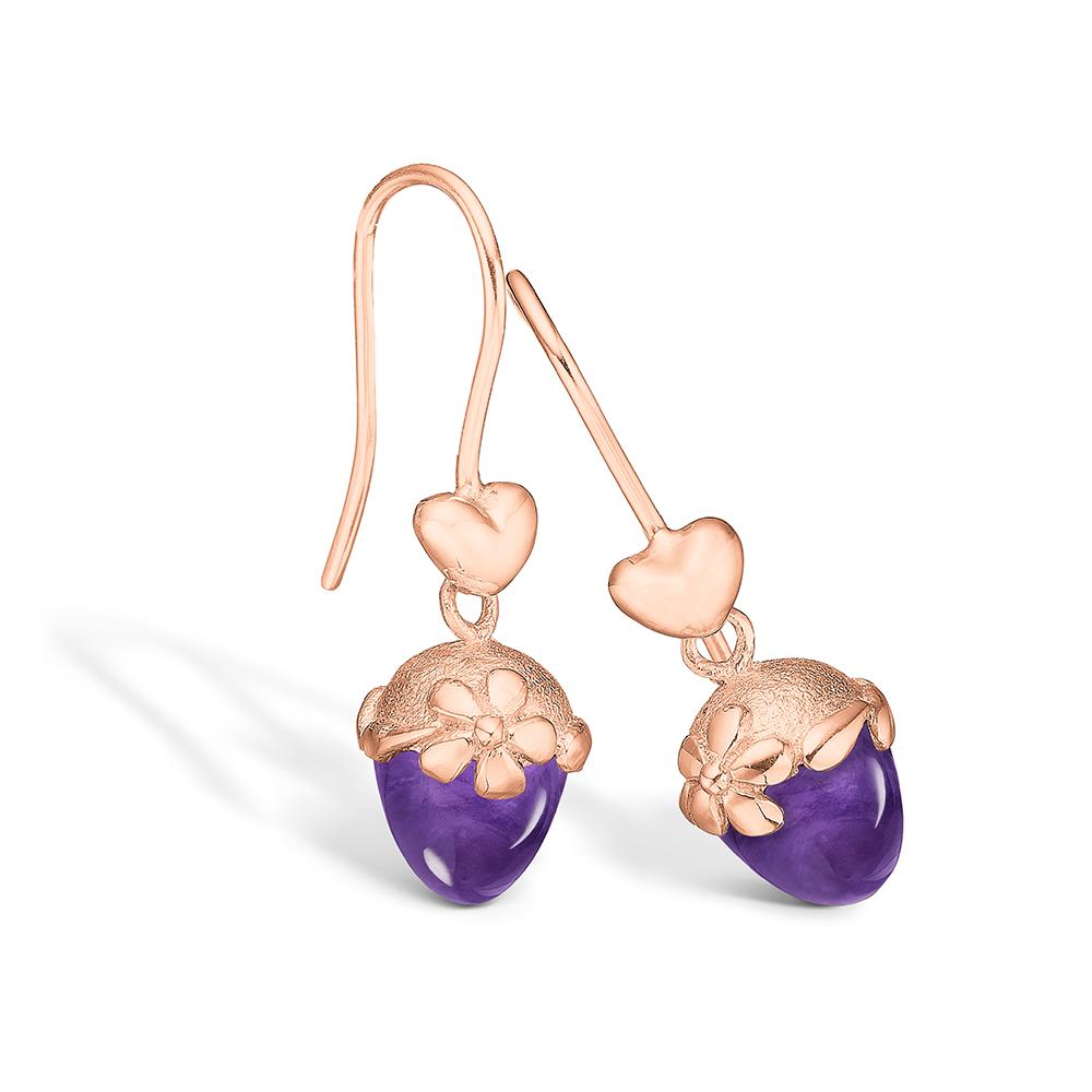 Blossom ørehængere i 14 kt rosaguld med  hjerter og lille ametyst