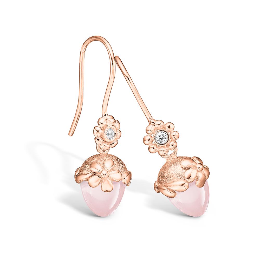 Blossom ørehængere i rosaguld med brillanter og lille rosakvarts
