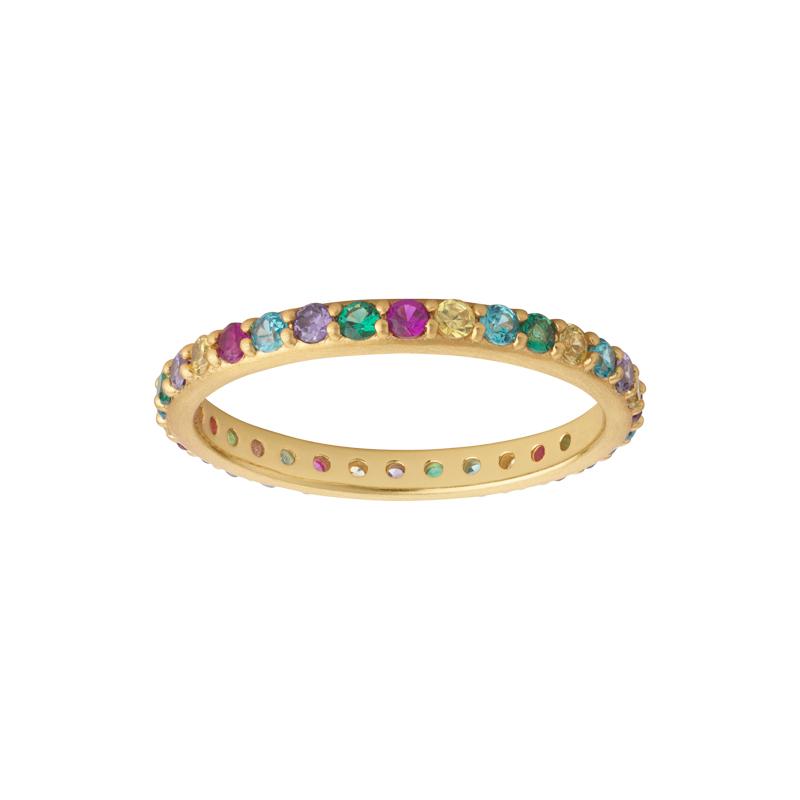 Image of   Bybiehl Rainbow Sparkle ring i forgyldt med farvede sten