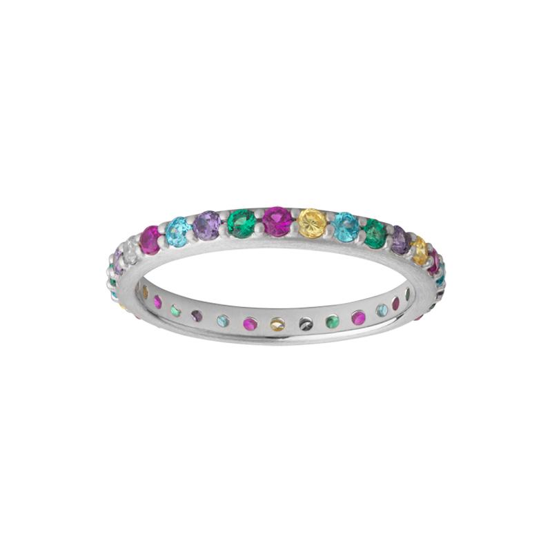 Image of   Bybiehl Rainbow Sparkle ring i sølv med farvede sten